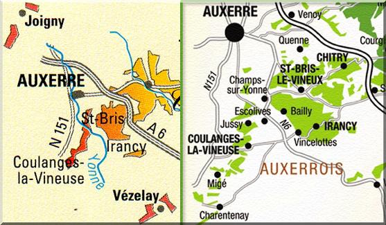 kaart bourgogne frankrijk